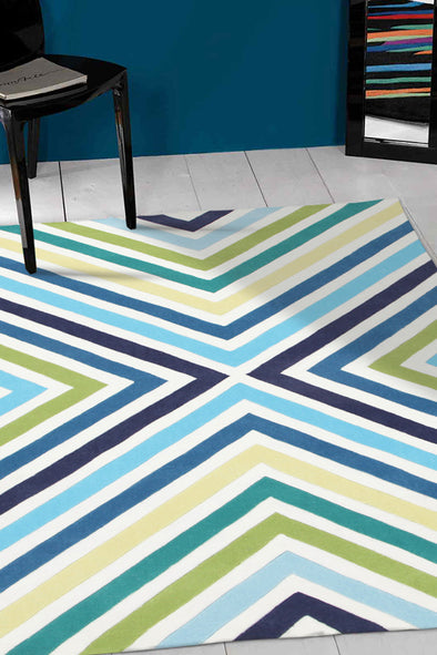 Cross Roads Design Rug Blue Green - Fantastic Rugs