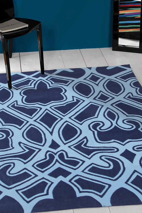 Gothic Tribal Design Rug Navy - Fantastic Rugs