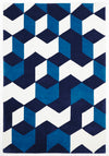 Cube Design Rug Navy Blue White