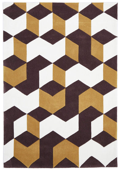 Cube Design Rug Yellow Brown White - Fantastic Rugs