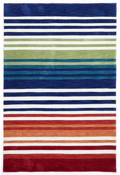 Modern Abrash Stripes Rug Multi Rust - Fantastic Rugs
