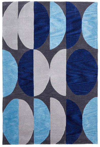 Eclipse Modern Rug Blue Navy Grey