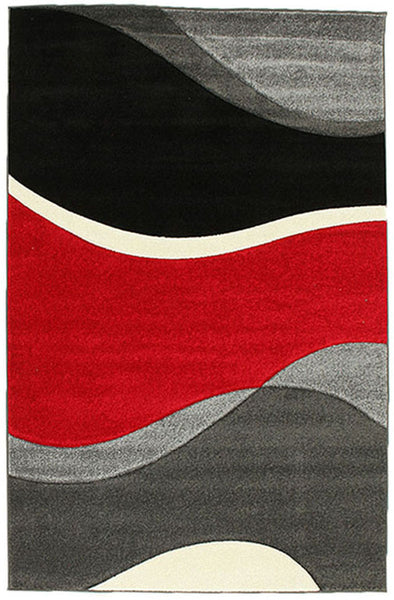Subtle Waves Rug Red