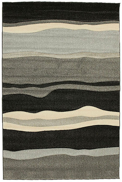 Stunning Thick Wave Rug Charcoal
