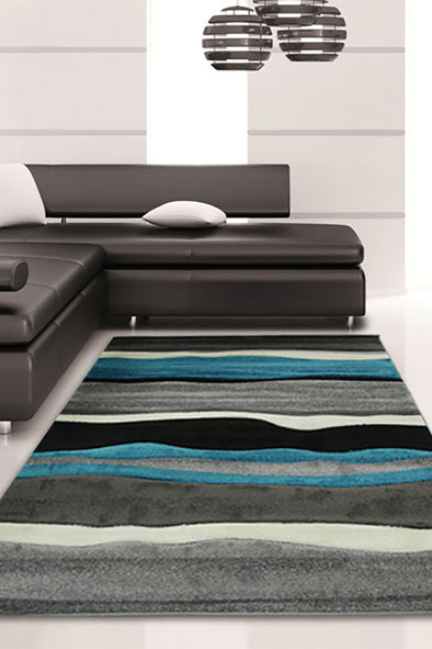 Stunning Thick Wave Rug Blue Grey - Fantastic Rugs