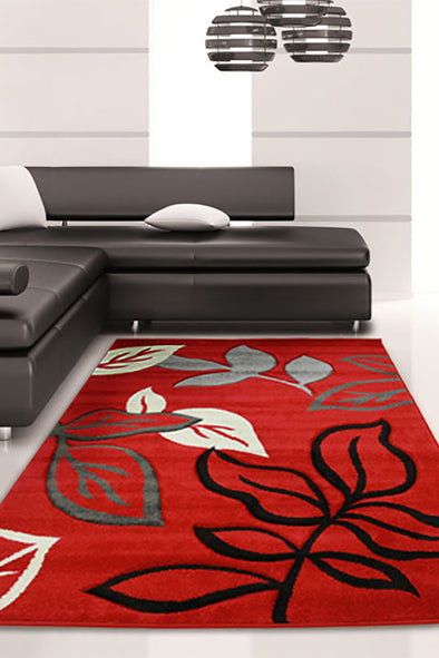 Stunning Thick Leaf Rug Red - Fantastic Rugs
