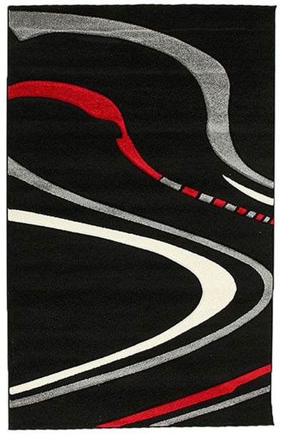 Ultra Modern Swirl Rug Black Red