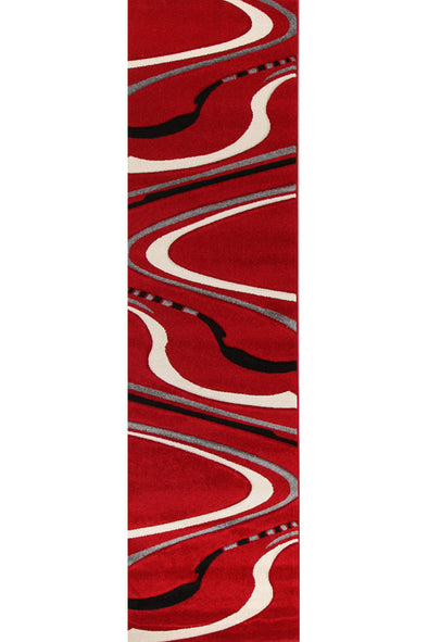 Ultra Modern Swirl Rug Red