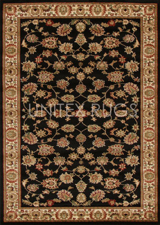 Traditional Floral Design Rug Black - Fantastic Rugs