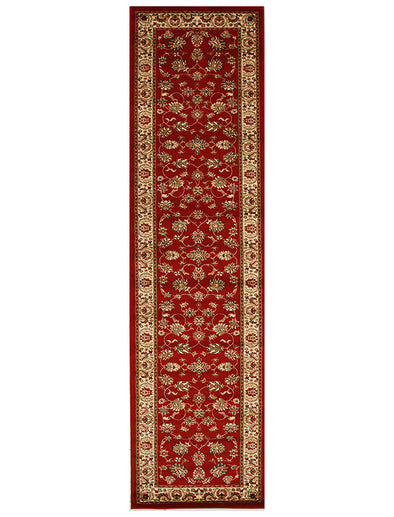 Traditional Floral Design Rug Red