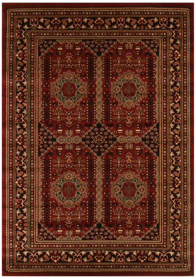 Traditional Afghan Design Rug Burgundy Red - Fantastic Rugs
