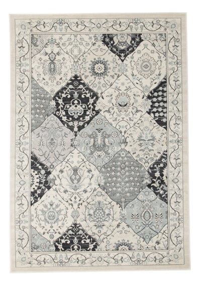 Persian Panel Design Rug Blue Navy Bone - Fantastic Rugs
