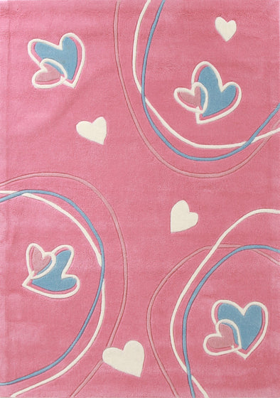Hearts And Swirls Pink Children's Rug - Fantastic Rugs