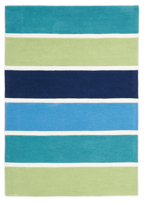 Blue and Green Banded Stripes Rug - Fantastic Rugs