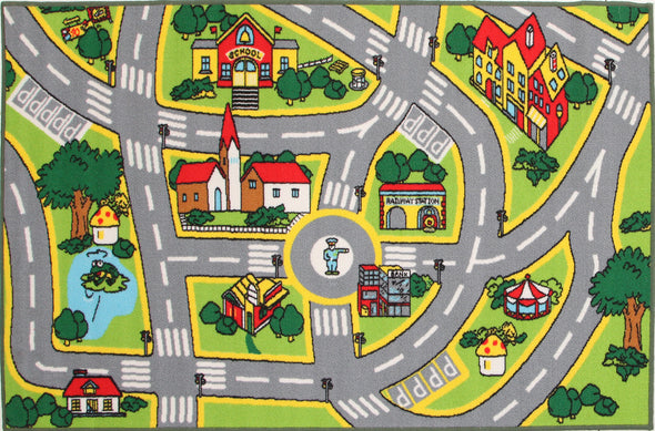 Kids Non Slip Road Map City Rug - Fantastic Rugs