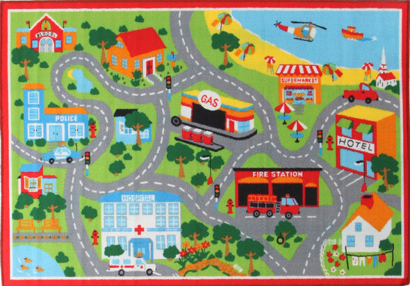 Kids Non Slip Road Map Beach Rug Red - Fantastic Rugs
