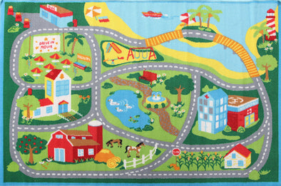 Kids Non Slip Road Map Beach Rug Blue - Fantastic Rugs