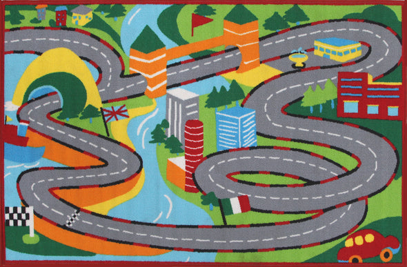 Kids Non Slip Road Map Track Rug