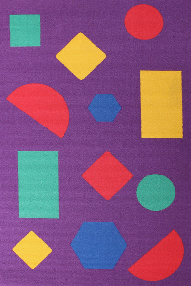 Kids Non Slip Shapes Rug Purple - Fantastic Rugs