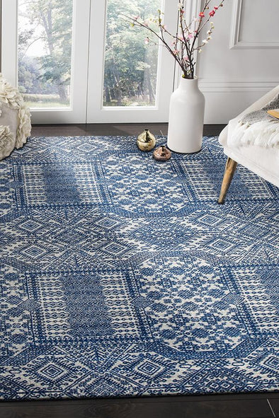 Zelda Grey Navy Rug - Fantastic Rugs