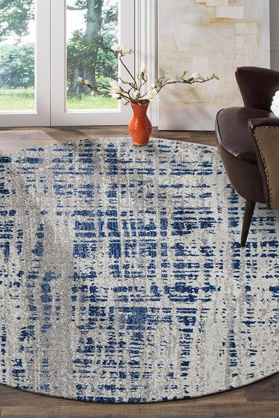 Ashley Abstract Modern Blue Grey Round Rug - Fantastic Rugs