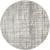 Ashley Abstract Modern Silver Grey Round Rug - Fantastic Rugs