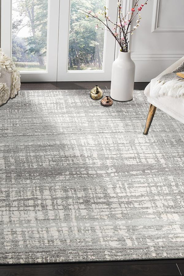 Ashley Abstract Modern Silver Grey Rug - Fantastic Rugs