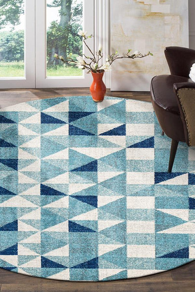 Illusion Modern Geo Blue Ivory Round Rug - Fantastic Rugs