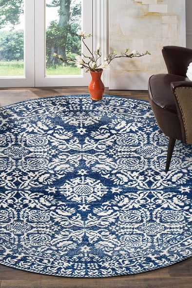 Gwyneth Stunning Transitional Navy Round Rug - Fantastic Rugs
