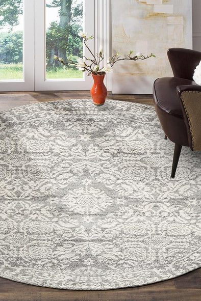 Gwyneth Stunning Transitional Silver Round Rug - Fantastic Rugs