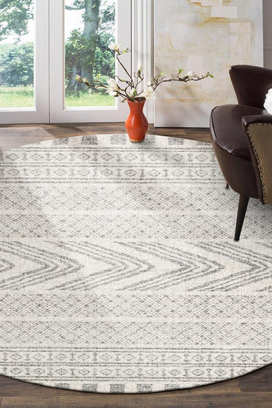 Adani  Modern Tribal Design Grey Round Rug - Fantastic Rugs