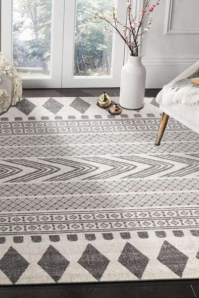 Adani  Modern Tribal Design Grey Rug - Fantastic Rugs