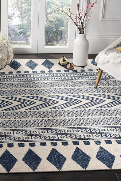 Adani  Modern Tribal Design Navy Rug - Fantastic Rugs