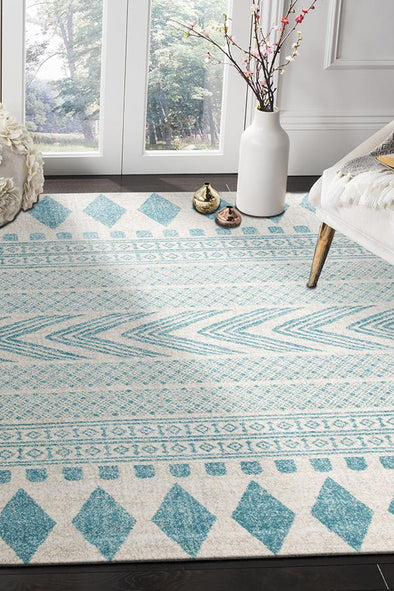 Adani  Modern Tribal Design sky Blue Rug - Fantastic Rugs