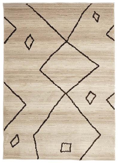 Moroccan Large Diamond Design Rug Cream