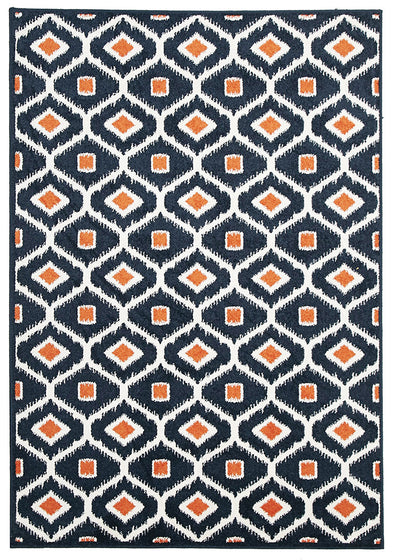 Indoor Outdoor Bianca Rug Navy Orange - Fantastic Rugs