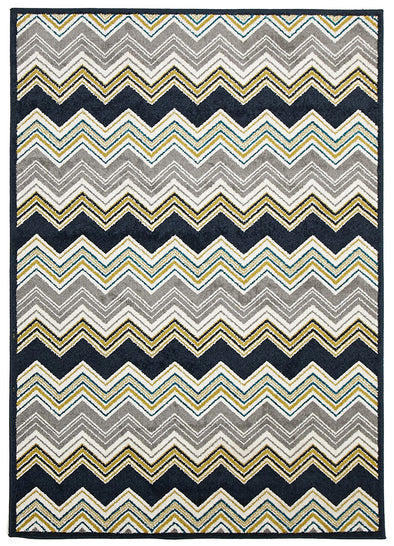 Indoor Outdoor Chevron Rug Navy - Fantastic Rugs
