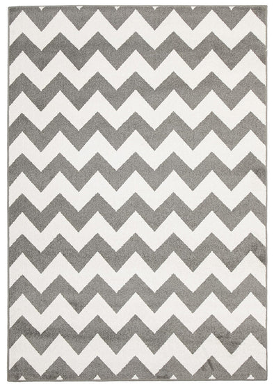 Indoor Outdoor Zig Zag Rug Grey
