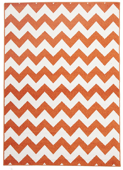 Indoor Outdoor Zig Zag Rug Orange - Fantastic Rugs