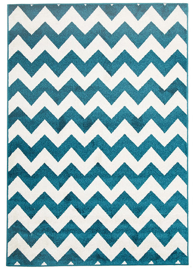 Indoor Outdoor Zig Zag Rug Peacock Blue - Fantastic Rugs