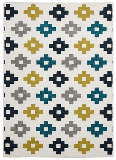 Indoor Outdoor Pixel Rug Blue Green White