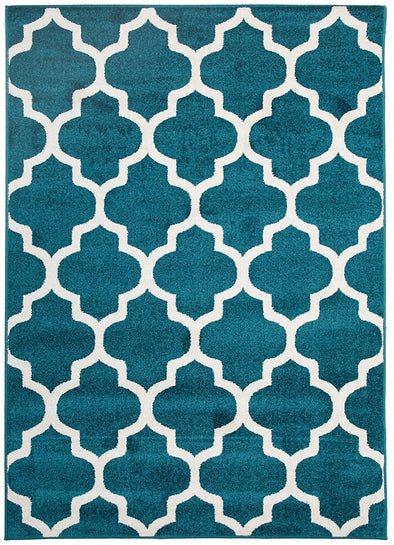 Indoor Outdoor Morocco Rug Peacock Blue - Fantastic Rugs