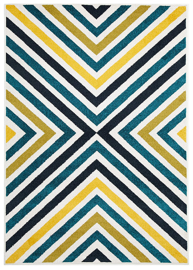 Indoor Outdoor Hex Rug Blue Blue Navy