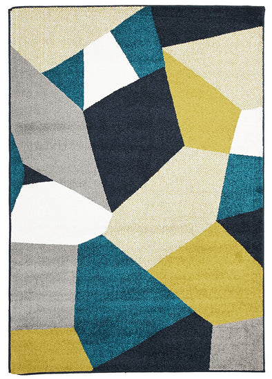 Indoor Outdoor Bedrock Rug Blue Citrus Grey - Fantastic Rugs