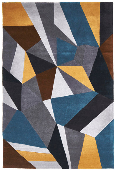 Laura Designer Wool Rug Blue Yellow Grey - Fantastic Rugs