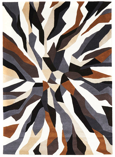 Crossroads Designer Wool Rug Brown White Grey - Fantastic Rugs