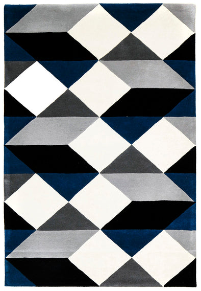 Digital Designer Wool Rug Blue Grey White - Fantastic Rugs