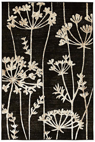 Delicate Floral Pattered Rug Black