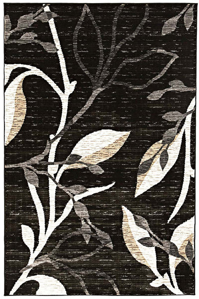 Designer Branch pattern Rug Charcoal
