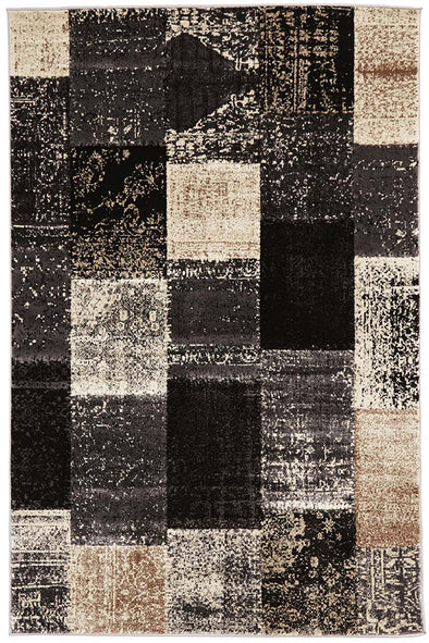 Patchwork Design Grey Rug